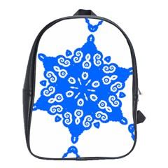 Snowflake Art Blue Cool Polka Dots School Bag (large) by Mariart