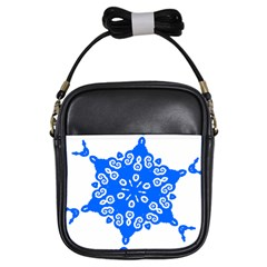 Snowflake Art Blue Cool Polka Dots Girls Sling Bags by Mariart