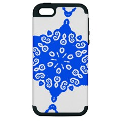 Snowflake Art Blue Cool Polka Dots Apple Iphone 5 Hardshell Case (pc+silicone) by Mariart