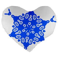 Snowflake Art Blue Cool Polka Dots Large 19  Premium Heart Shape Cushions by Mariart