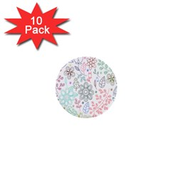 Prismatic Neon Floral Heart Love Valentine Flourish Rainbow 1  Mini Buttons (10 Pack)  by Mariart