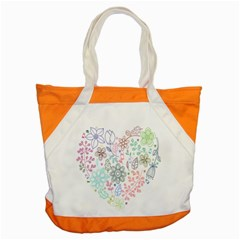 Prismatic Neon Floral Heart Love Valentine Flourish Rainbow Accent Tote Bag by Mariart