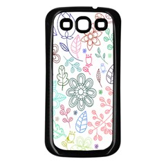 Prismatic Neon Floral Heart Love Valentine Flourish Rainbow Samsung Galaxy S3 Back Case (black) by Mariart