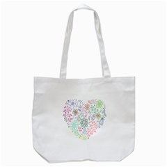 Prismatic Neon Floral Heart Love Valentine Flourish Rainbow Tote Bag (white) by Mariart