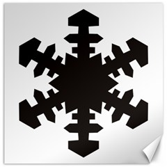 Snowflakes Black Canvas 16  X 16   by Mariart