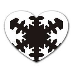 Snowflakes Black Heart Mousepads by Mariart