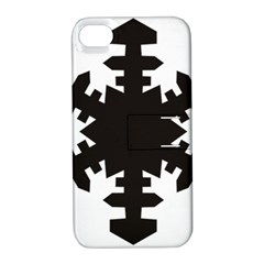 Snowflakes Black Apple Iphone 4/4s Hardshell Case With Stand by Mariart