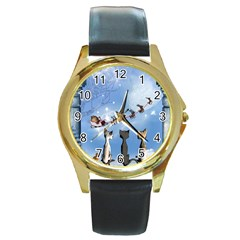 Christmas, Cute Cats Looking In The Sky To Santa Claus Round Gold Metal Watch by FantasyWorld7