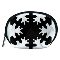 Snowflakes Black Accessory Pouches (medium)  by Mariart