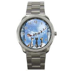Christmas, Cute Cats Looking In The Sky To Santa Claus Sport Metal Watch by FantasyWorld7