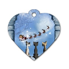 Christmas, Cute Cats Looking In The Sky To Santa Claus Dog Tag Heart (two Sides) by FantasyWorld7
