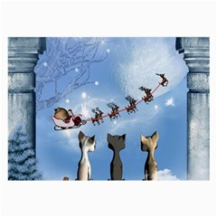 Christmas, Cute Cats Looking In The Sky To Santa Claus Large Glasses Cloth (2 Side) by FantasyWorld7