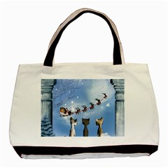 Christmas, Cute Cats Looking In The Sky To Santa Claus Basic Tote Bag (two Sides) by FantasyWorld7
