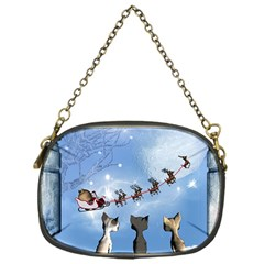 Christmas, Cute Cats Looking In The Sky To Santa Claus Chain Purses (one Side)  by FantasyWorld7