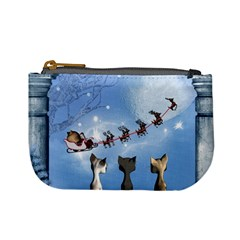 Christmas, Cute Cats Looking In The Sky To Santa Claus Mini Coin Purses by FantasyWorld7