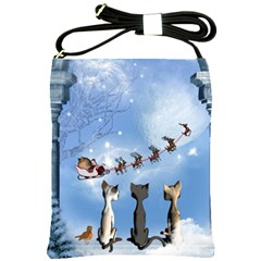 Christmas, Cute Cats Looking In The Sky To Santa Claus Shoulder Sling Bags by FantasyWorld7