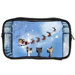 Christmas, Cute Cats Looking In The Sky To Santa Claus Toiletries Bags 2 Side by FantasyWorld7
