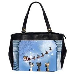 Christmas, Cute Cats Looking In The Sky To Santa Claus Office Handbags (2 Sides)  by FantasyWorld7