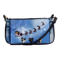 Christmas, Cute Cats Looking In The Sky To Santa Claus Shoulder Clutch Bags by FantasyWorld7