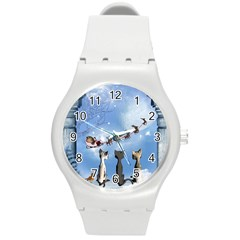 Christmas, Cute Cats Looking In The Sky To Santa Claus Round Plastic Sport Watch (m) by FantasyWorld7