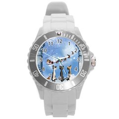 Christmas, Cute Cats Looking In The Sky To Santa Claus Round Plastic Sport Watch (l) by FantasyWorld7