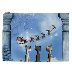 Christmas, Cute Cats Looking In The Sky To Santa Claus Cosmetic Bag (xxl)  by FantasyWorld7