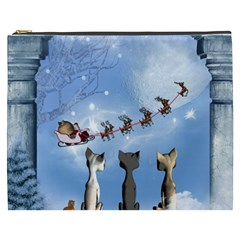 Christmas, Cute Cats Looking In The Sky To Santa Claus Cosmetic Bag (xxxl)  by FantasyWorld7