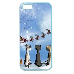 Christmas, Cute Cats Looking In The Sky To Santa Claus Apple Seamless Iphone 5 Case (color) by FantasyWorld7
