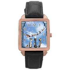 Christmas, Cute Cats Looking In The Sky To Santa Claus Rose Gold Leather Watch  by FantasyWorld7
