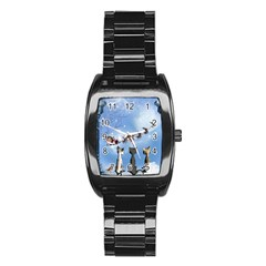 Christmas, Cute Cats Looking In The Sky To Santa Claus Stainless Steel Barrel Watch by FantasyWorld7