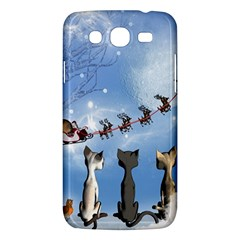 Christmas, Cute Cats Looking In The Sky To Santa Claus Samsung Galaxy Mega 5 8 I9152 Hardshell Case  by FantasyWorld7