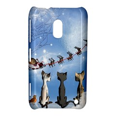 Christmas, Cute Cats Looking In The Sky To Santa Claus Nokia Lumia 620 by FantasyWorld7