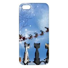 Christmas, Cute Cats Looking In The Sky To Santa Claus Iphone 5s/ Se Premium Hardshell Case by FantasyWorld7