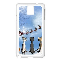 Christmas, Cute Cats Looking In The Sky To Santa Claus Samsung Galaxy Note 3 N9005 Case (white) by FantasyWorld7