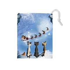 Christmas, Cute Cats Looking In The Sky To Santa Claus Drawstring Pouches (medium)  by FantasyWorld7