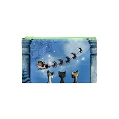 Christmas, Cute Cats Looking In The Sky To Santa Claus Cosmetic Bag (xs) by FantasyWorld7