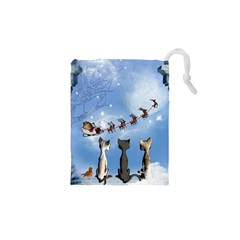 Christmas, Cute Cats Looking In The Sky To Santa Claus Drawstring Pouches (xs)  by FantasyWorld7
