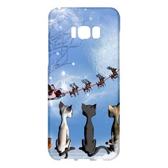 Christmas, Cute Cats Looking In The Sky To Santa Claus Samsung Galaxy S8 Plus Hardshell Case  by FantasyWorld7