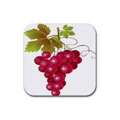 Red Fruit Grape Rubber Square Coaster (4 Pack)  by Mariart