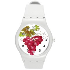 Red Fruit Grape Round Plastic Sport Watch (m) by Mariart