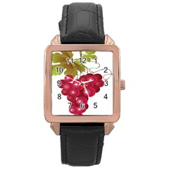 Red Fruit Grape Rose Gold Leather Watch  by Mariart