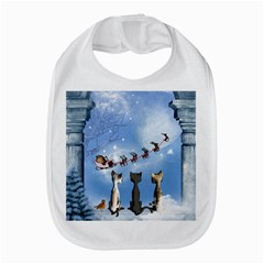 Christmas, Cute Cats Looking In The Sky To Santa Claus Bib by FantasyWorld7