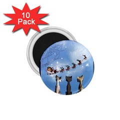 Christmas, Cute Cats Looking In The Sky To Santa Claus 1 75  Magnets (10 Pack)  by FantasyWorld7
