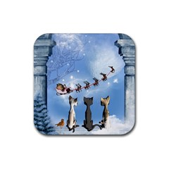 Christmas, Cute Cats Looking In The Sky To Santa Claus Rubber Coaster (square)  by FantasyWorld7