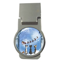 Christmas, Cute Cats Looking In The Sky To Santa Claus Money Clips (round)  by FantasyWorld7