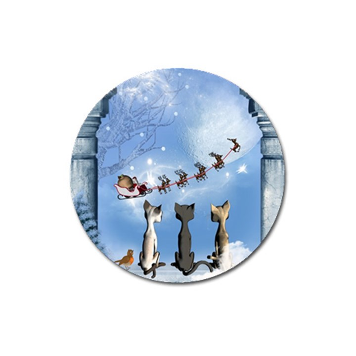 Christmas, Cute Cats Looking In The Sky To Santa Claus Magnet 3  (Round)