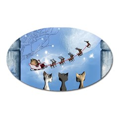 Christmas, Cute Cats Looking In The Sky To Santa Claus Oval Magnet by FantasyWorld7