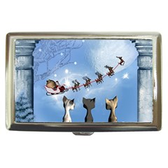 Christmas, Cute Cats Looking In The Sky To Santa Claus Cigarette Money Cases by FantasyWorld7