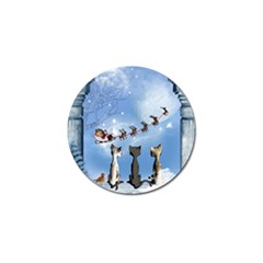 Christmas, Cute Cats Looking In The Sky To Santa Claus Golf Ball Marker (10 Pack) by FantasyWorld7