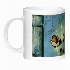 Christmas, Cute Cats Looking In The Sky To Santa Claus Night Luminous Mugs by FantasyWorld7